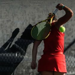 Erika Olsen, of Bear River, reacts after missing a shot against Bailey Huebner, of Green Canyon, during the final singles match of the 4A girls tennis state tournament at Liberty Park Tennis Center in Salt Lake City on Saturday, Oct. 2, 2021.