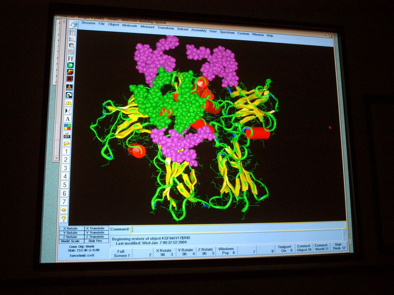 A protein bound to a receptor is shown in the Molecular Graphics Lab in California.