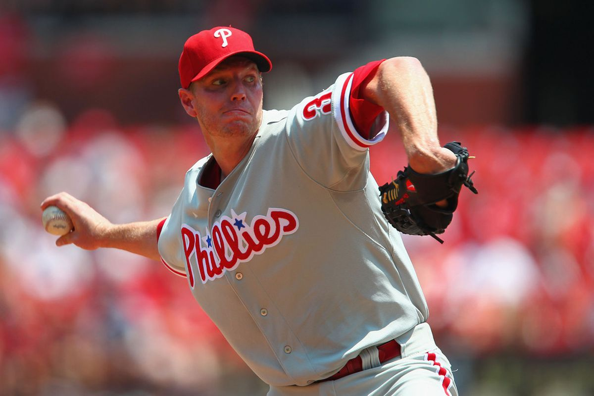 ST. LOUIS, MO - MAY 27: Starter Roy Halladay #34 of the Philadelphia Phillies pitches against the St. Louis Cardinals at Busch Stadium on May 27, 2012 in St. Louis, Missouri.  (Photo by Dilip Vishwanat/Getty Images)