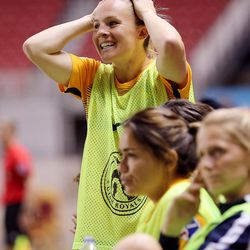 Utah Royals FC forward Amy Rodriguez (8) reacts to the team missing a shot at goal as the Utah Royals and the Orlando Pride play at Rio Tinto Stadium in Sandy on Wednesday, May 9, 2018.