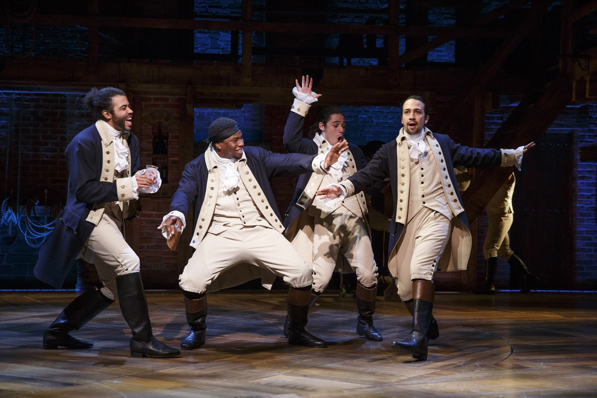 lafayette, hercules mulligan, john laurens, and hamilton in the broadway cast of hamilton