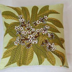 "Vera Neumann green floral napkin pillow, <a href=""http://www.etsy.com/listing/74649760/vintage-vera-neumann-green-brown-and?ref=&sref="">$46</a>."
