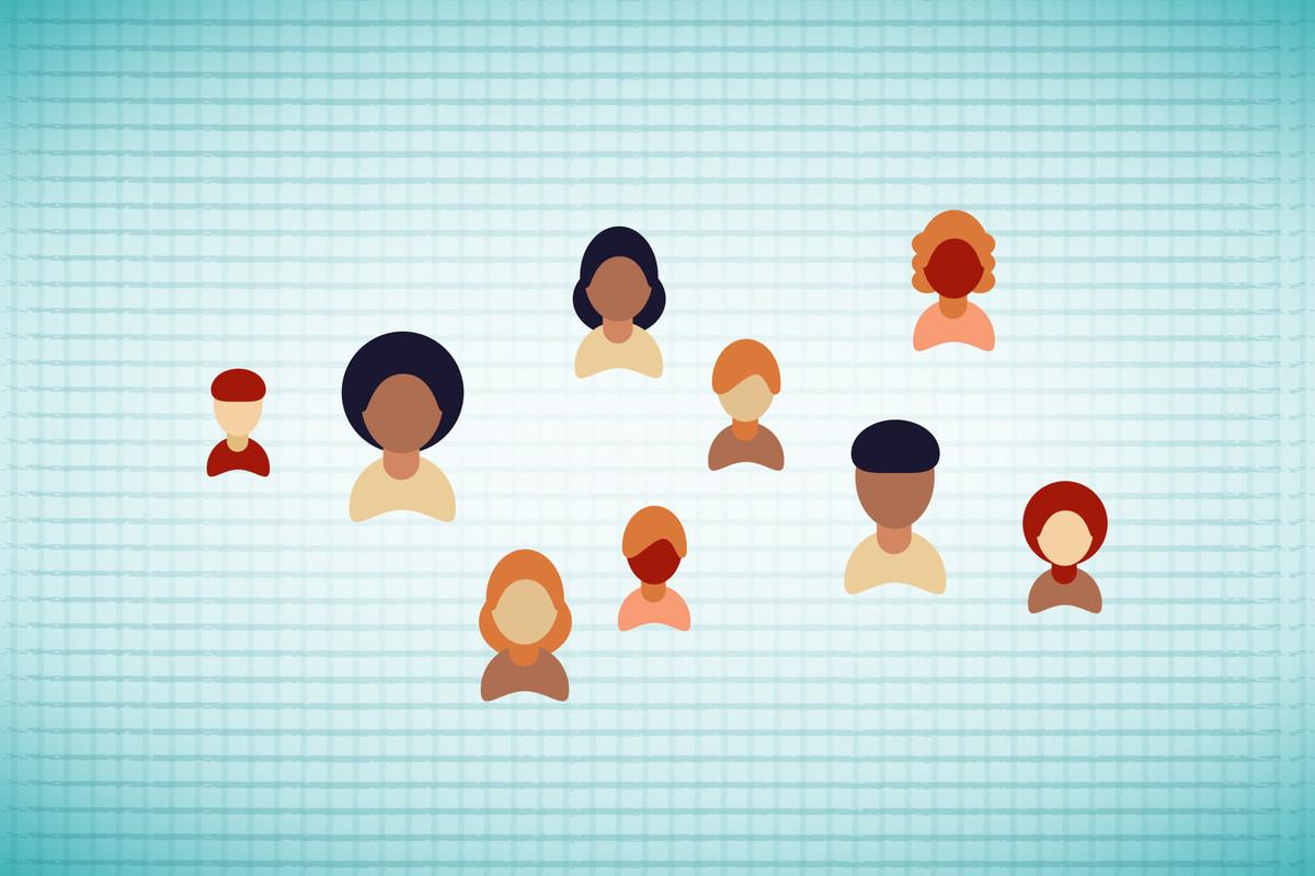 Illustration of people against a grid backdrop