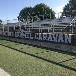 The student section at Mount Carmel High School's Barda-Dowling Stadium at Carey Field.
