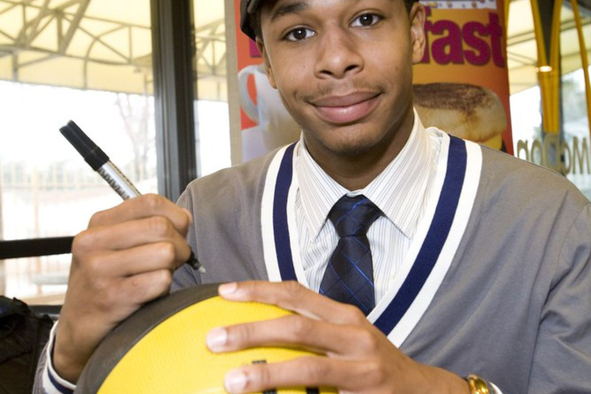 Memphis-bound McDonald's All-American Jelan Kendrick talks to Peachtree Hoops--after he signs this basketball for someone else, of course.