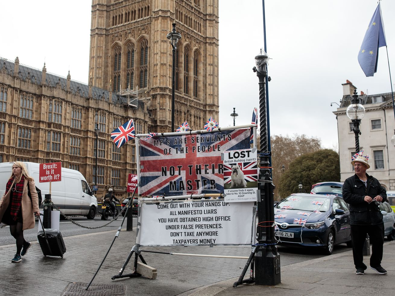 A pro-Brexit banner outside of Westminster in London.