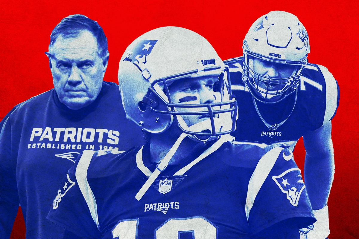 A photo collage featuring Bill Belichick, Tom Brady, and Nate Solder
