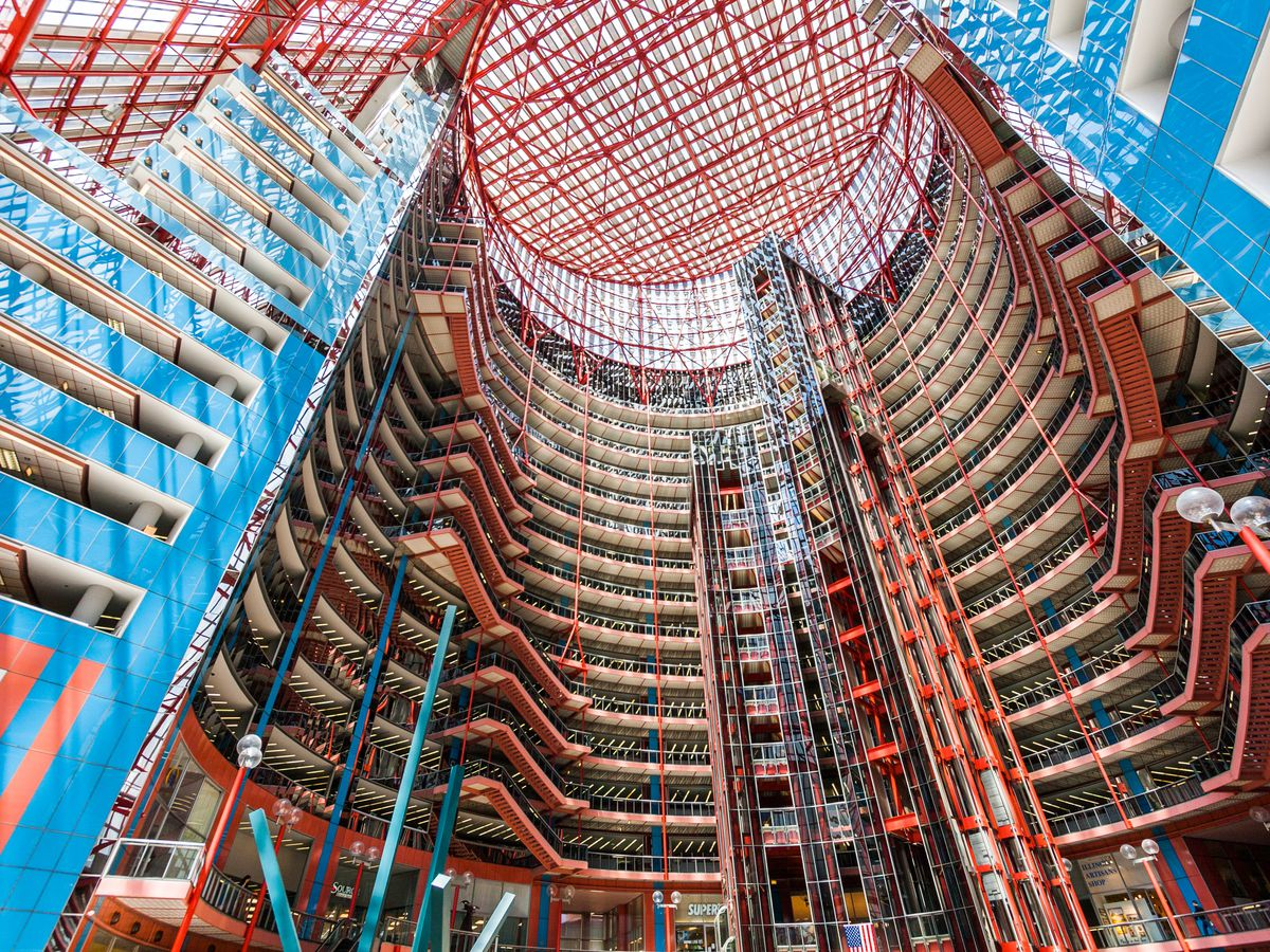 The interior of the James R. Thompson Center in Chicago.