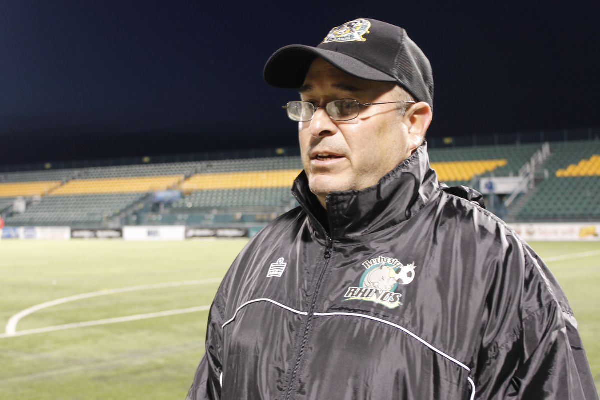 Rochester Rhinos head coach Bob Lilley chats after a 1-0 home win in the 2015 U.S. Open Cup.