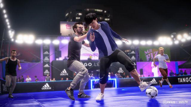 Kotaro Tokuda, a Japanese street soccer star, playing futsal under bright lights in FIFA 20