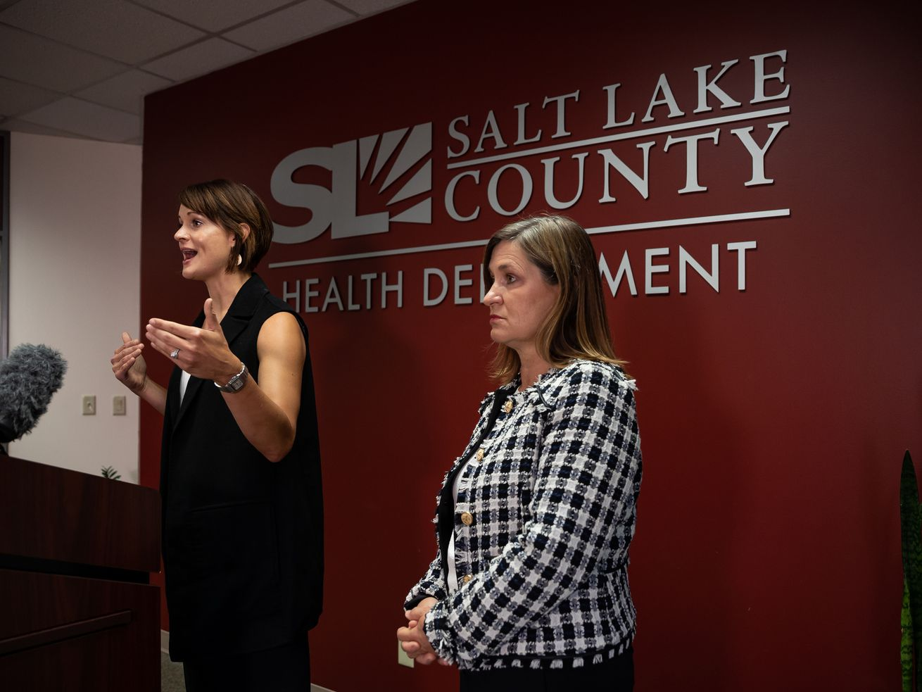 Salt Lake County Health Department Executive Director Dr. Angela Dunn, left, speaks during a COVID-19 briefing with Salt Lake County Mayor Jenny Wilson at her side at the Salt Lake County Government Center in Salt Lake City on Thursday, July 22, 2021.