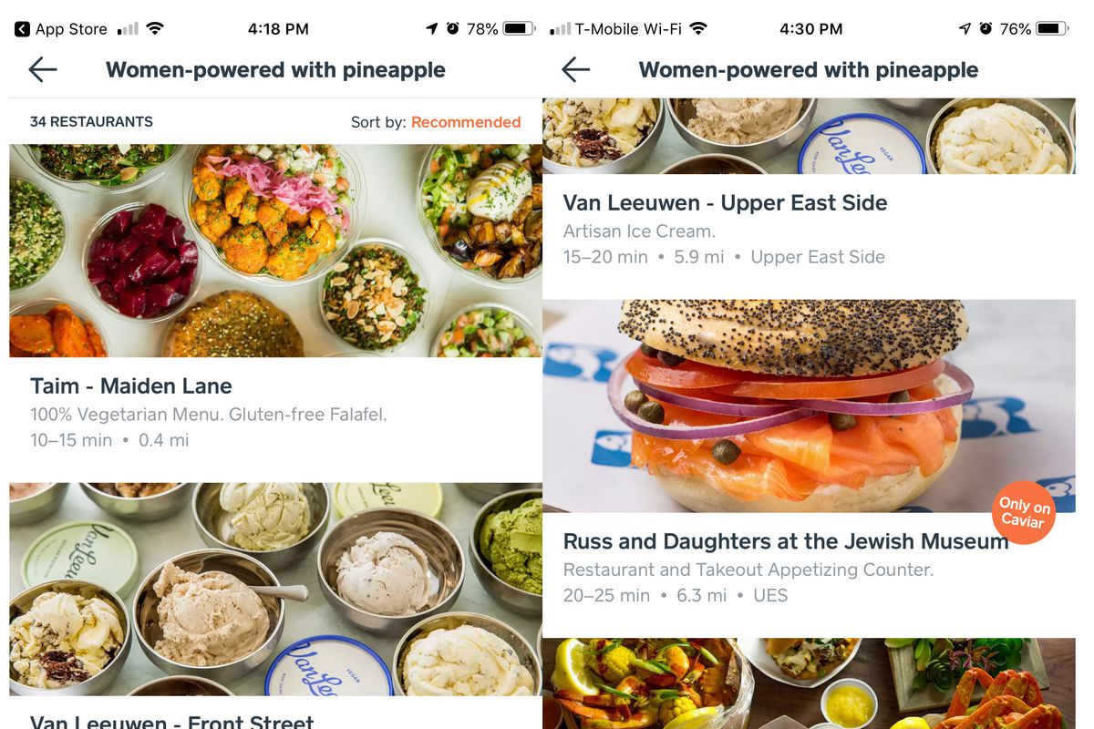 Food delivery app Caviar spotlights women-owned