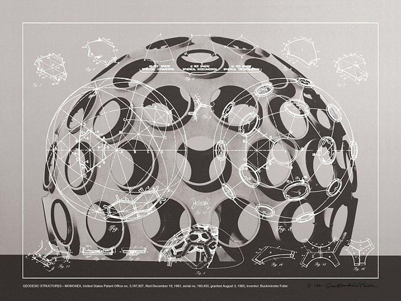 Buckminster Fuller, <em>Geodesic Structures - Monohex</em>, 1981