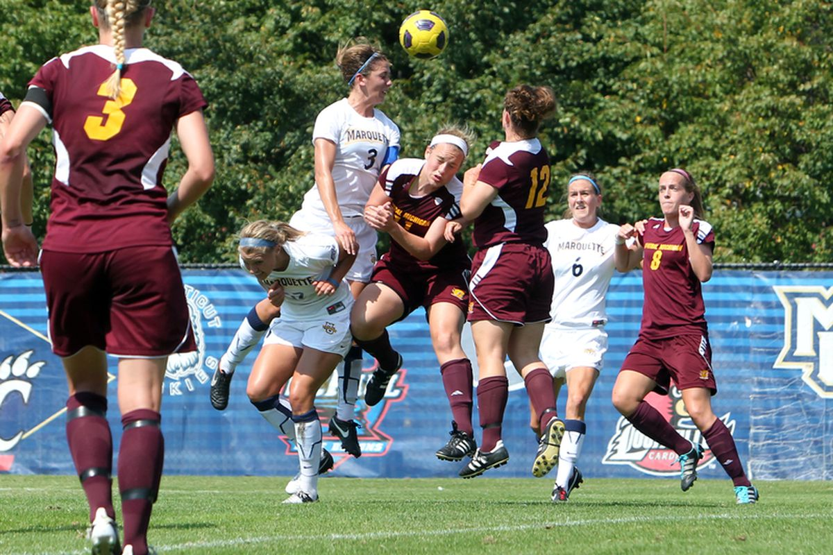 This one's against Central Michigan, but you still get to see what an Ally Miller (3) header in the box looks like. (via Maggie Casey/MarquetteImages.com)