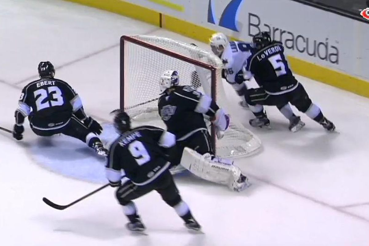San Jose Barracuda forward Jeremy Langlois scores the game-winning-goal at 16:50 of the third period in the Barracuda's 4-2 home win over the Ontario Reign at SAP Center. (AHL Live).