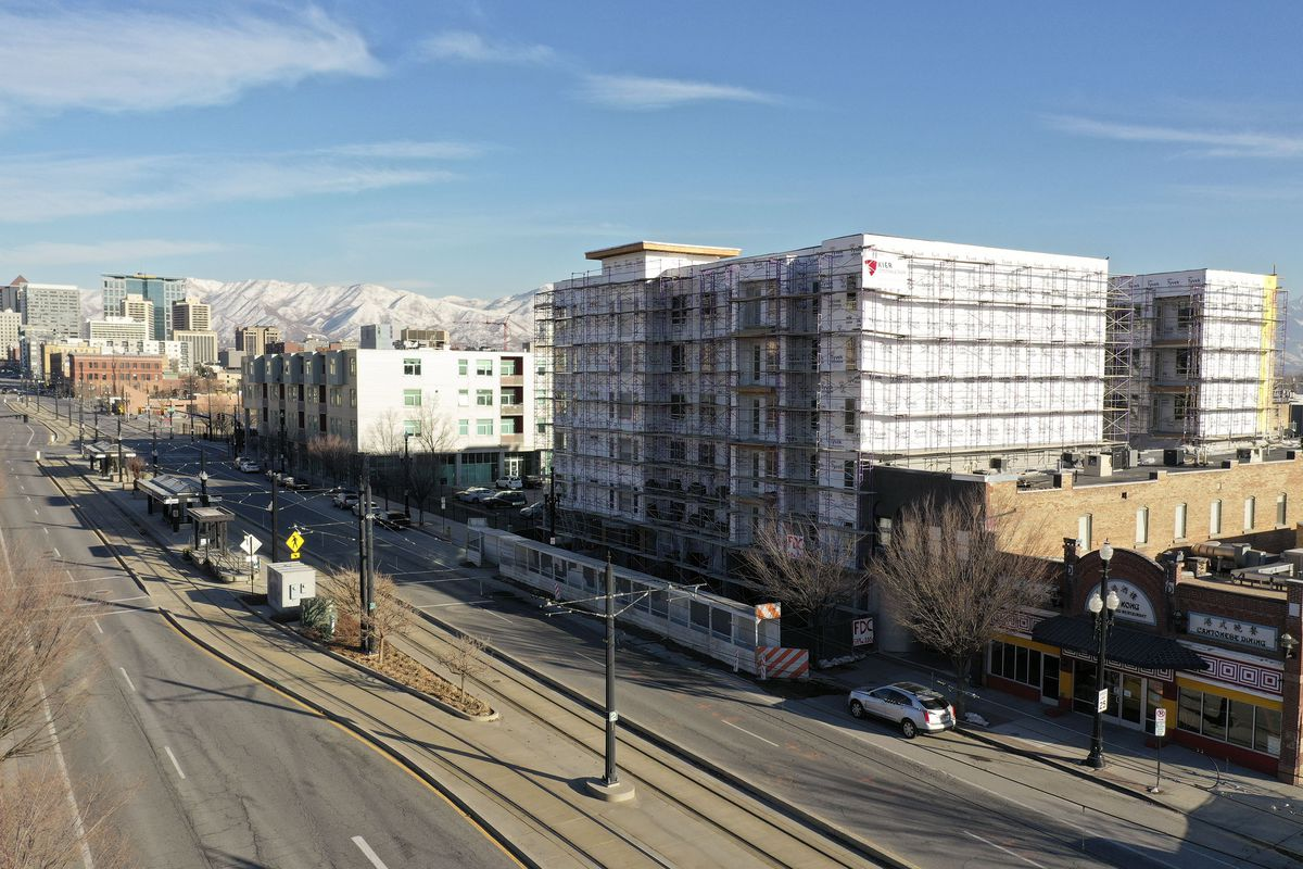 Kier Construction continues work on Central Station, a development by Gardner Batt, at 549 W. 200 South in Salt Lake City on Tuesday, March 2, 2021. The 65-unit affordable apartment community will have studio, one-, two-, three- and four-bedroom apartments.
