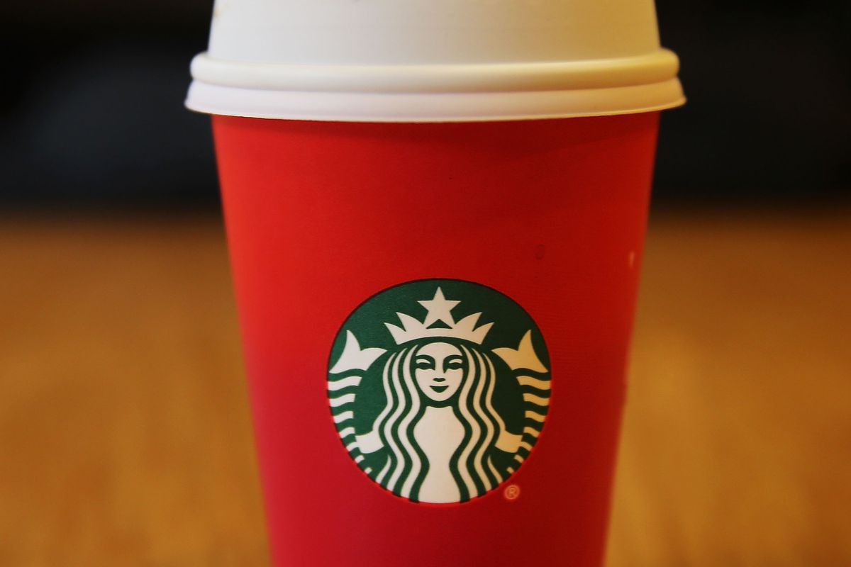 The infamous Starbucks red cup.