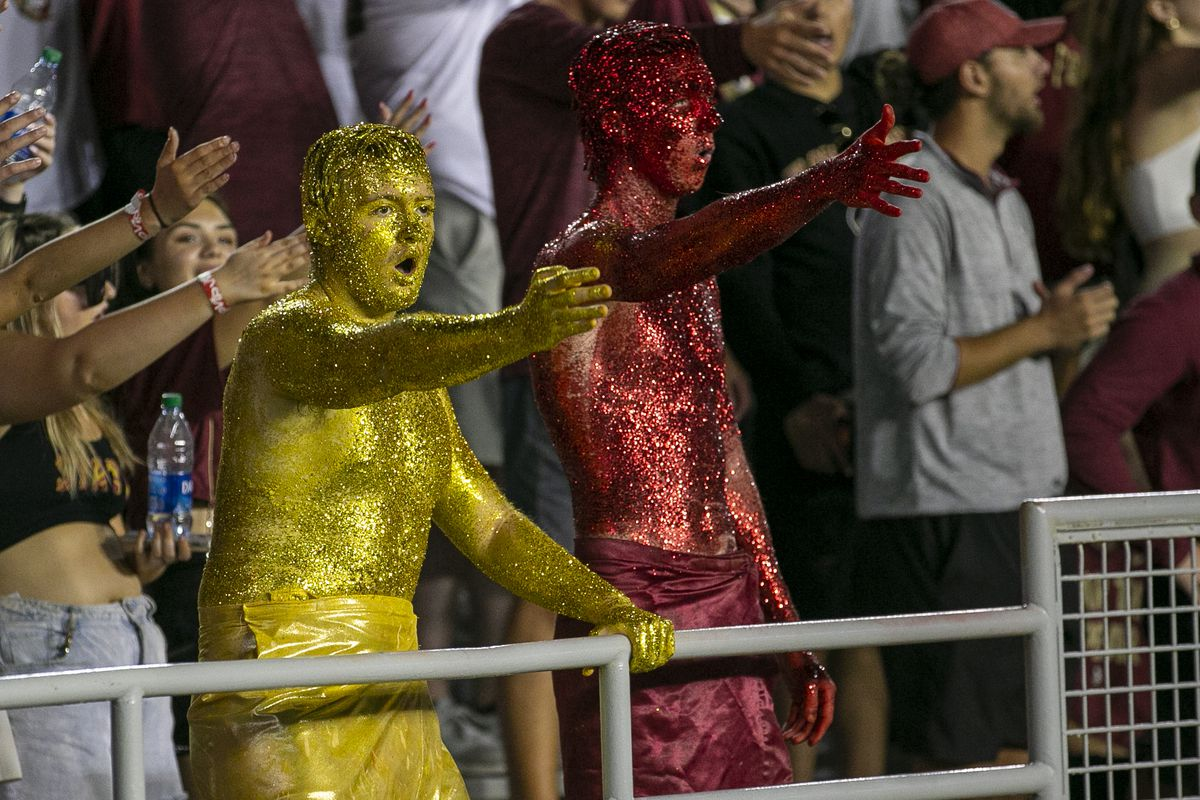 The Garnet and Gold Guys during the game between the Notre Dame Fighting Irish and the Florida State Seminoles on September 5, 2021 at Bobby Bowden Field at Doak Campbell Stadium in Tallahassee, Fl.