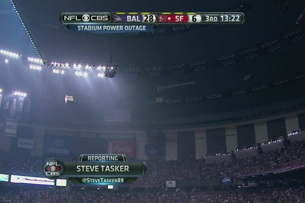 Super Bowl power outage delays 49ers vs  Ravens game - Baltimore
