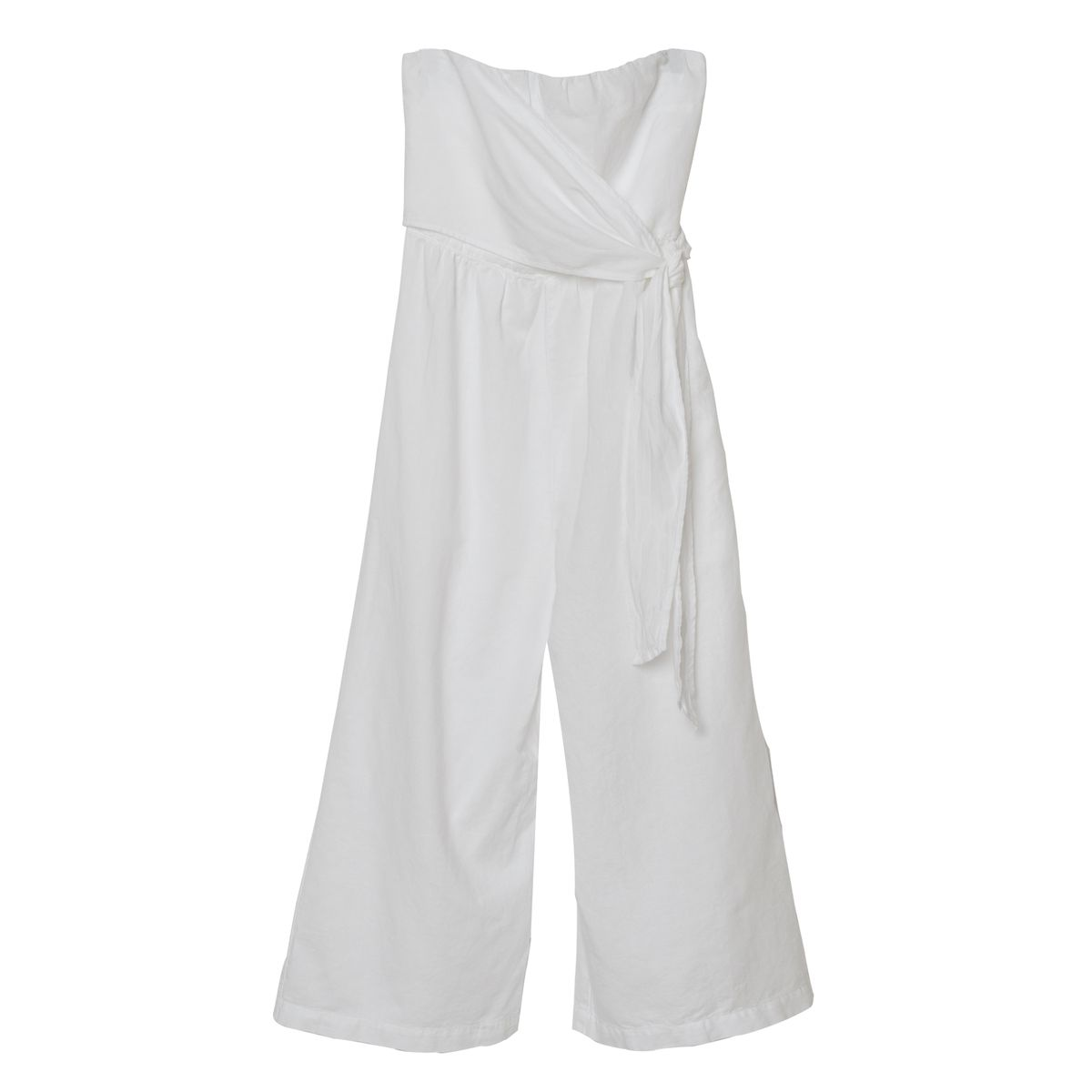 A white strapless jumpsuit
