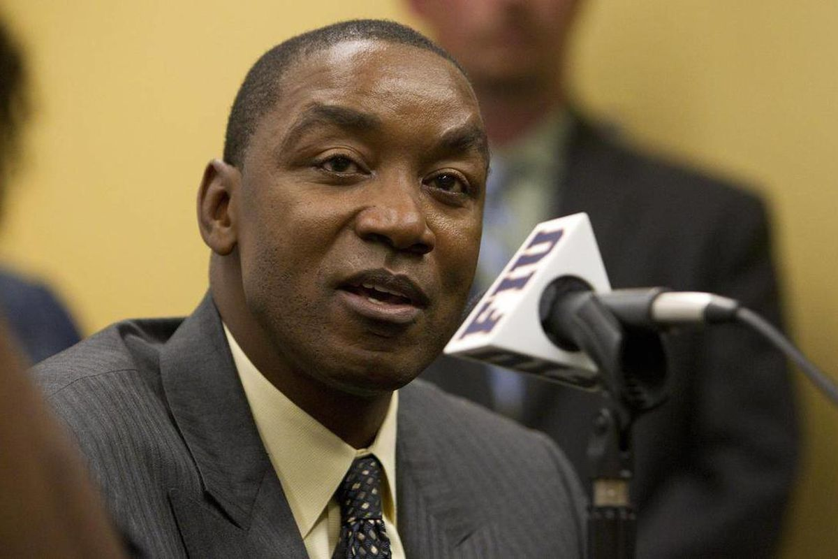 FILE - In this Oct. 8, 2011 photo, FIU basketball coach Isiah Thomas speaks during the South Florida All Star Classic basketball game in Miami.  Florida International has fired men's basketball coach Isiah Thomas, after the Hall of Fame player went 26-65