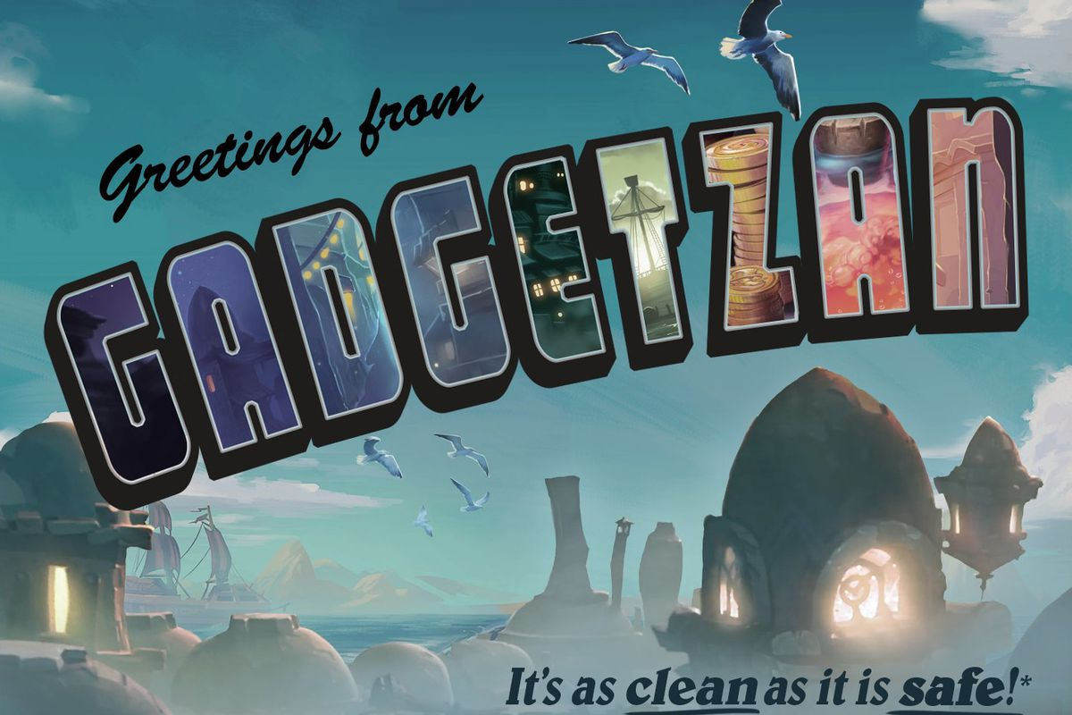 A faux postcard for the goblin city of Gadgetzan, serving as a teaser for new Hearthstone content.