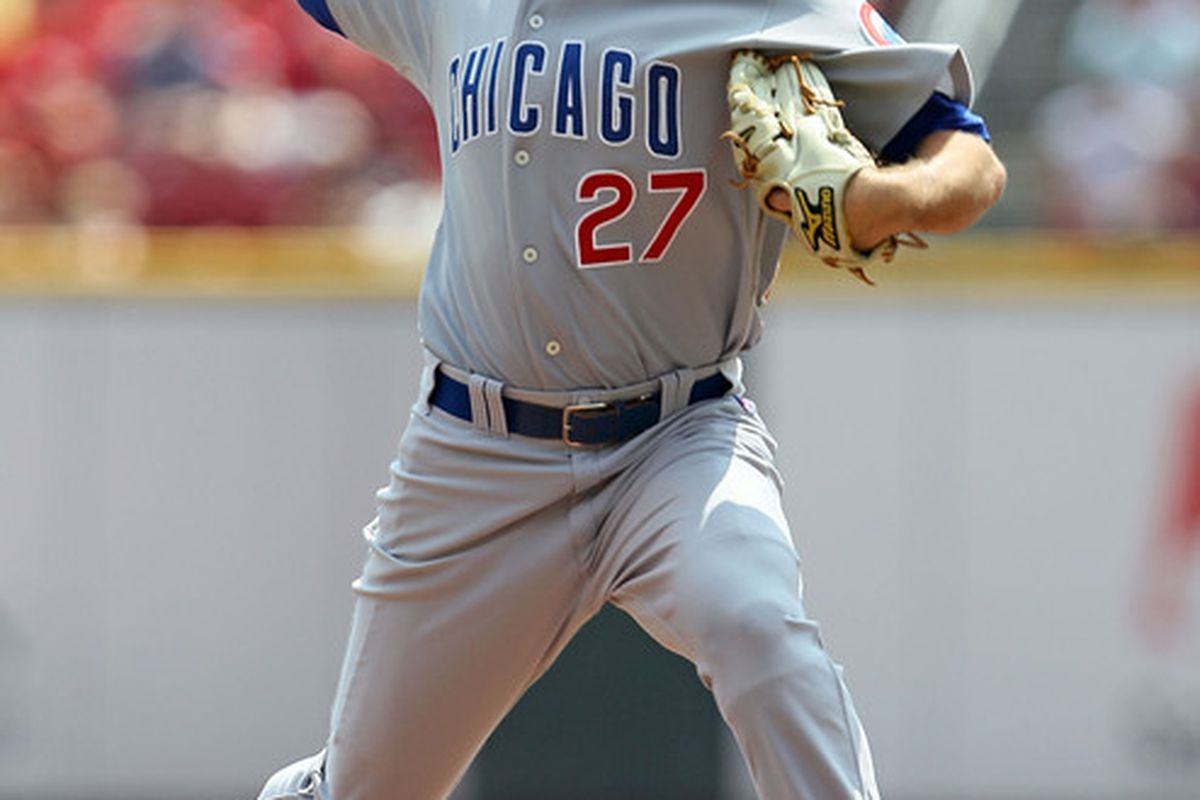 Casey Coleman of the Chicago Cubs throws a pitch during the game against the Cincinnati Reds at Great American Ball Park in Cincinnati Ohio.  (Photo by Andy Lyons/Getty Images)