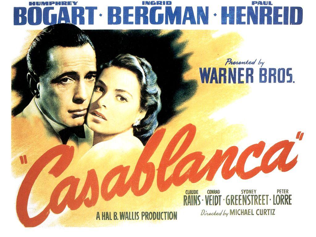 Humphrey Bogart and Ingrid Bergman on a poster for 1942's Casablanca.