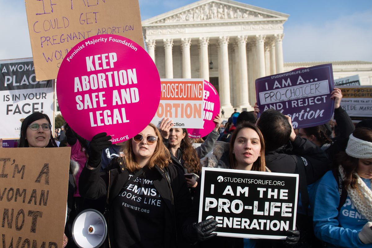 Anti-abortion and abortion-rights activists demonstrate outside the US Supreme Court in Washington, DC, on January 18, 2019