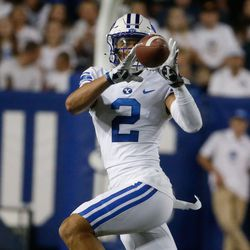 Brigham Young wide receiver Neil Pau'u (2) catches a pass during an NCAA college football game against Arizona State at LaVell Edwards Stadium in Provo on Saturday, Sept. 18, 2021.