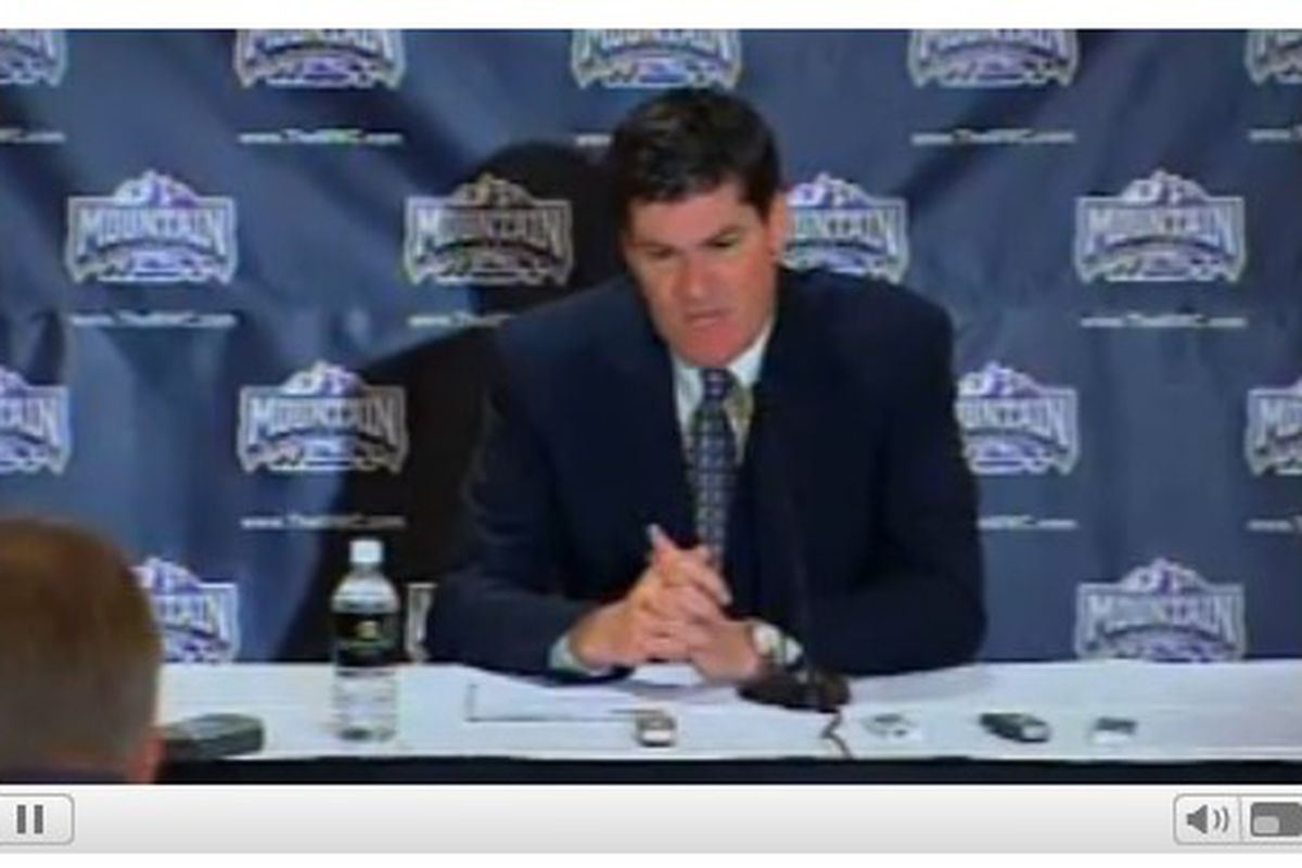 Mountain West commissioner Craig Thompson addresses the media at the Mountain West meetings in Jackson, Wyo.
