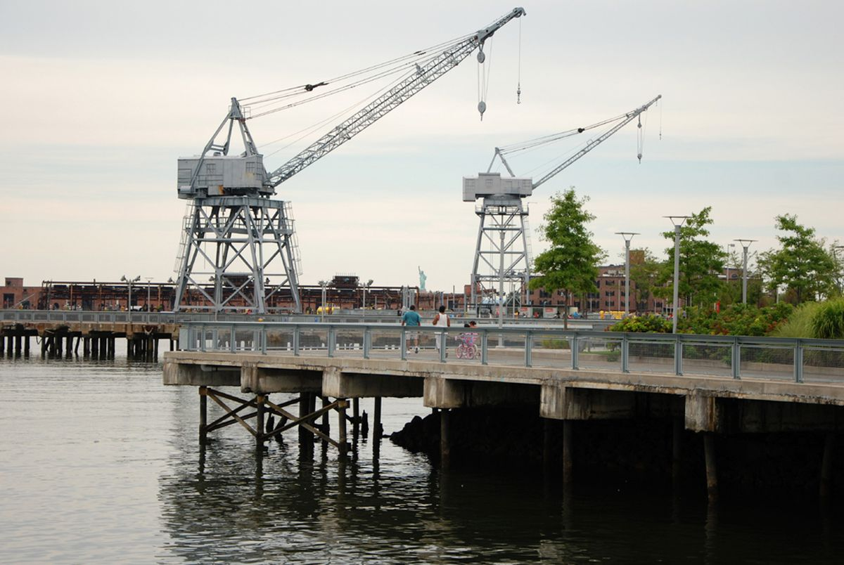 The esplanades offer panoramic views of Red Hook's industrial and  post-industrial landscape.