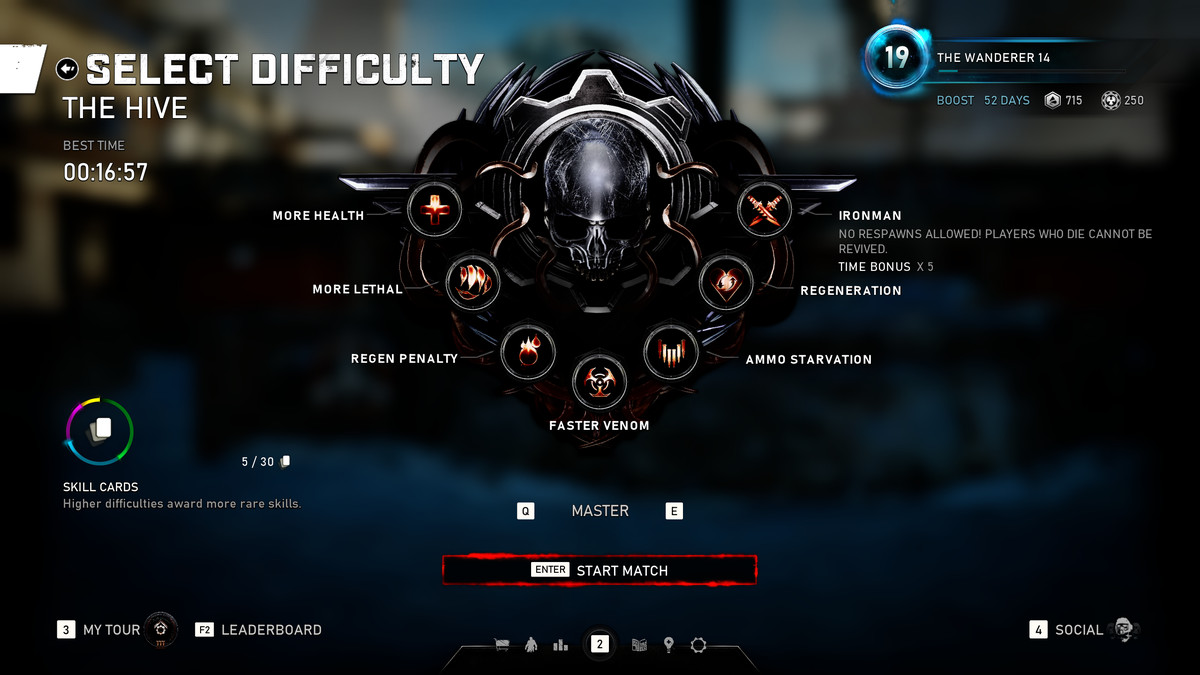 The highest difficulty setting in Gears 5's Escape mode is called Ironman. It does not allow for respawns. The time is multiplied by 5 for purposes of player leaderboards.