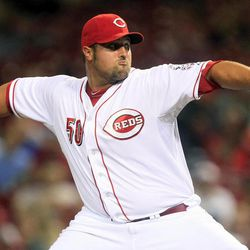 Cincinnati Reds relief pitcher Jonathan Broxton throws against the Pittsburgh Pirates in the ninth inning of a baseball game, Tuesday, Sept. 11, 2012, in Cincinnati. Broxton earned his first save as a Red as Cincinnati won 5-3.