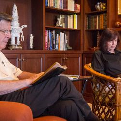 Ed and Carol Diener enjoy each some quiet reading time in Salt Lake City, Utah, on Monday, Aug. 28, 2017. Ed, a research psychologist, and Carol, a clinical psychologist, have applied principles of happiness and well-being to their family life and their lives together.