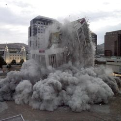 The old Key bank building is demolished in downtown Salt Lake City by explosives. August 17, 2007.
