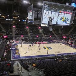 The Utah Jazz play then Phoenix Suns in a preseason NBA game at a sparsely filled Vivint Smart Home Arena in Salt Lake City on Monday, Dec. 14, 2020. The Jazz beat the Suns 111-92.
