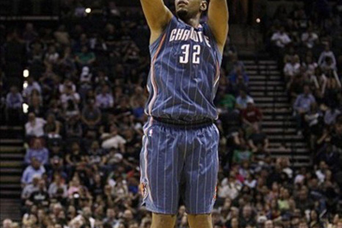 Mar 2, 2012; San Antonio, TX, USA; Charlotte Bobcats center Boris Diaw (32) shoots against the San Antonio Spurs during the second half at the AT&T Center. The Spurs won 102-72. Mandatory Credit: Soobum Im-US PRESSWIRE