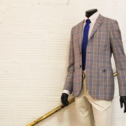 """When it comes to men's suits there are two kinds of patterns: pinstripes and plaids. If you have a larger build, Trinidad says to avoid plaids. """"Prints like those tend to broaden a gentleman and that's definitely not a look we try to go for,"""" he says. """"If"""