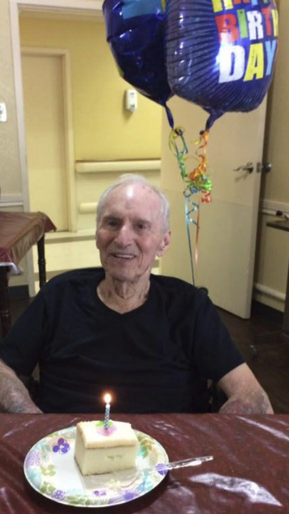 Ronald Zaring celebrates his birthday at Friendswood Health Care Center in Friendswood, Texas, on April 17, 2017. On Tuesday, Aug. 29, the 82-year-old died on a rescue bus on the way to a hospital. | Devin Zaring via AP