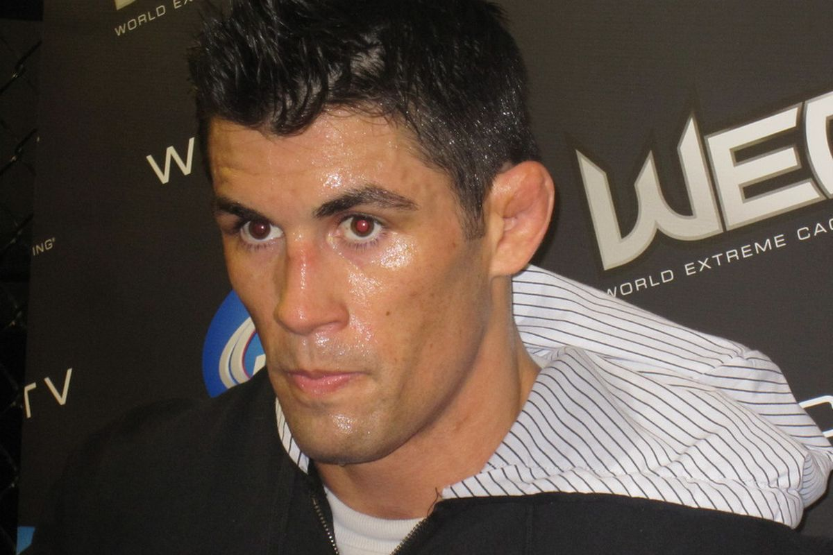 Dominick Cruz as he cuts weight in preparation for his title fight against Scott Jorgensen on Thursday night. The winner will be declared the first ever UFC Bantamweight champion. Photo by Marcus Primc.