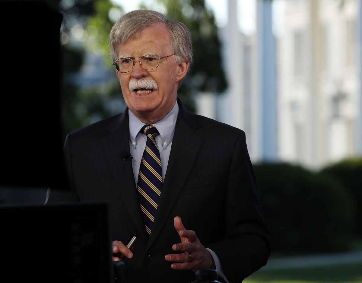 National Security Adviser John Bolton speaks on television on May 9, 2018. Since taking the job in April, he has appeared on television often to discuss the administration's national security positions, especially on North Korea and Iran.