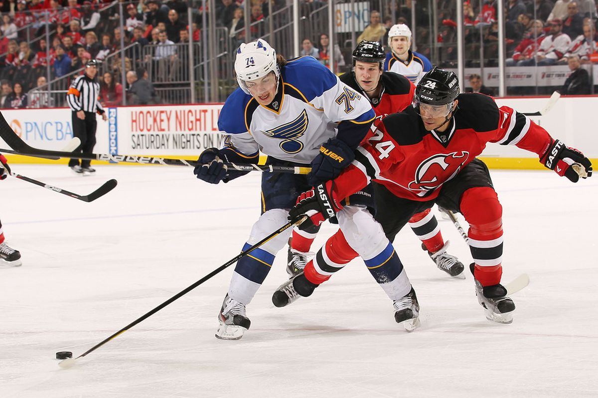 Fun fact: This picture is from the last time the Blues came to play the Devils.  Back on February 9, 2012.