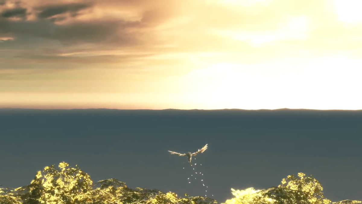 A sunset sets up one of the final moments of The Last Guardian