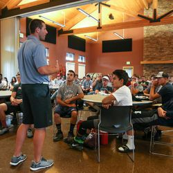 Max Hall speaks to participants at the Quarterback Elite camp at Lone Peak Park in Sandy on Friday, July 1, 2016.