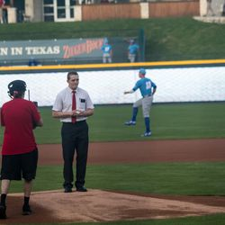 Mormon missionary, Elder Dusty Hone, throws the first pitch at Tuesday's Round Rock Express baseball game on April 18, 2017, against the Omaha Storm Chasers.