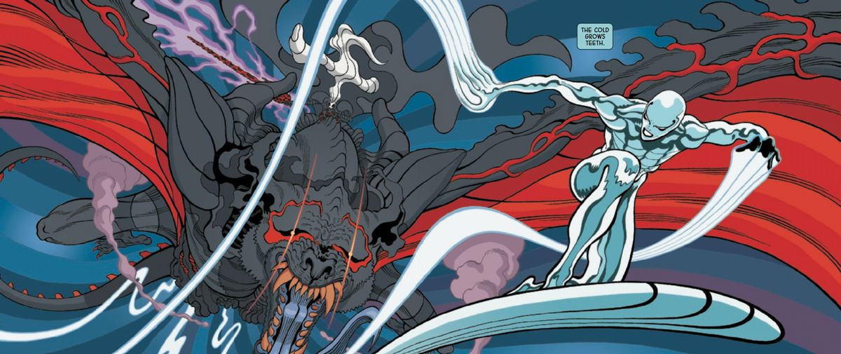 The Silver Surfer flees through space from the dark god Knull, who is riding a symbiote-dragon, in Silver Surfer Black #2, Marvel Comics (2019).