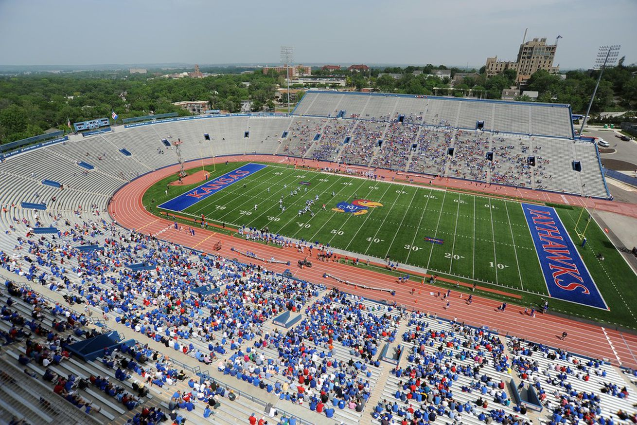 Apr 28, 2012; Lawrence, KS, USA; A general view of Memorial Stadium in the second half of the Kansas Jayhawks Spring Game. Mandatory Credit: John Rieger-US PRESSWIRE