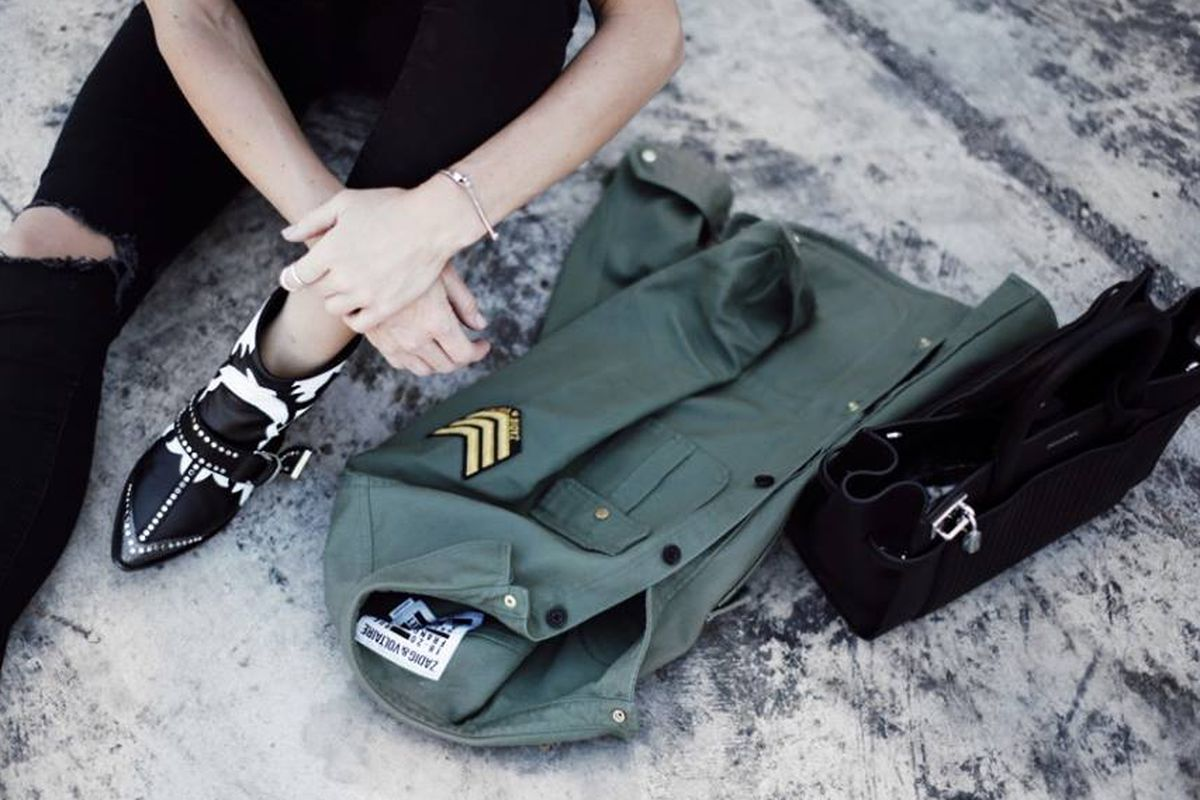 Zadig & Voltaire army jacket and edgy boots