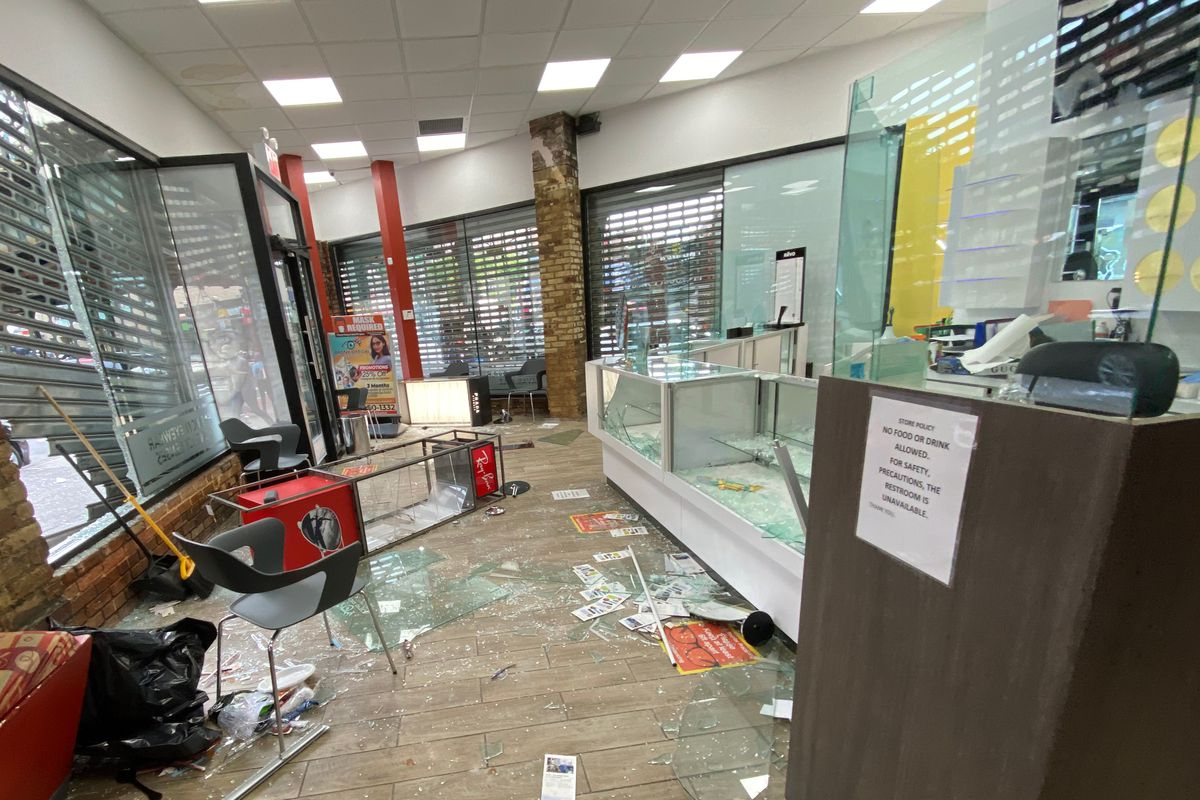 The aftermath of a robbery at the Bronx Optical Center during protests in early June.